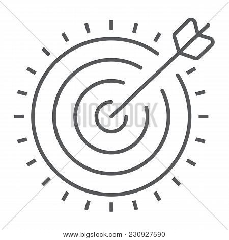 Target Thin Line Icon, Development And Business, Dartboard Sign Vector Graphics, A Linear Pattern On