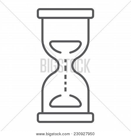 Hourglass Thin Line Icon, Development And Business, Deadline Sign Vector Graphics, A Linear Pattern