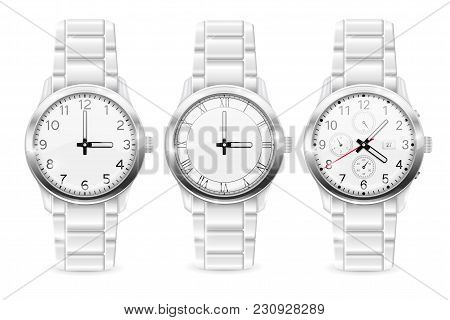 Men Wrist Watch. Collection Of Watches. Vector 3d Illustration Isolated On White Background