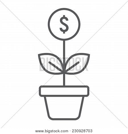 Successful Investment Thin Line Icon, Development And Business, Money Growth Sign Vector Graphics, A