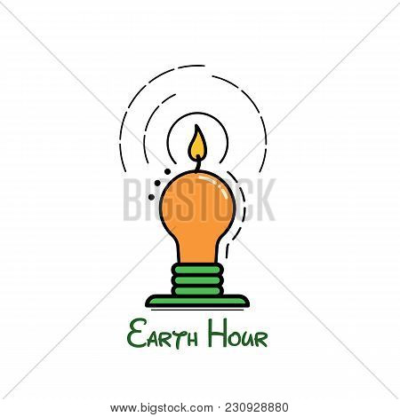 Illustration About Earth Hour. Vector Flat Icon.