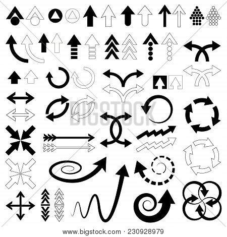 Black Arrows Icons Set Isolated On White.