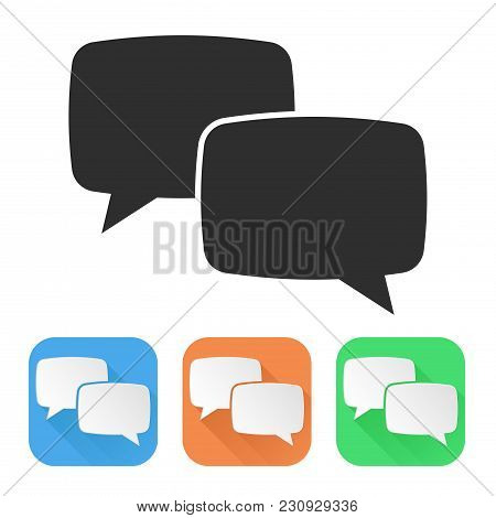 Speech Bubbles. Colored Icons. Vector Illustration Isolated On White Background