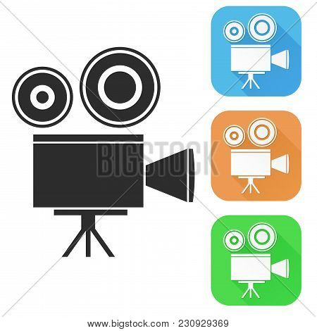 Movie Filming, Old Retro Camera. Colored Icons. Vector Illustration Isolated On White Background
