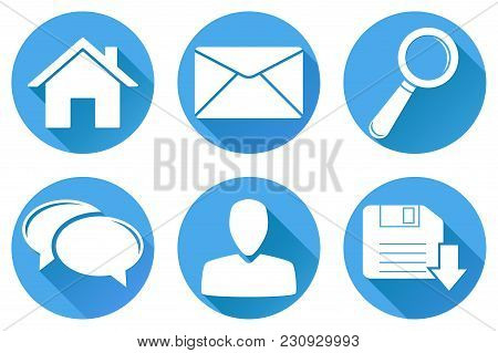 Set Of Main Round Blue Internet Icons. Vector Illustration Isolated On White Background