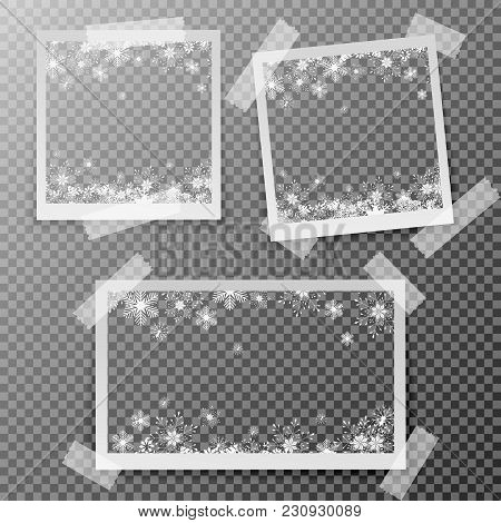 Christmas Square Photo Frame With Snow And Shadow On Transparent Background. Photograph Empty Blank