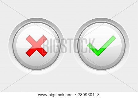 White Round Web Buttons With Colored Signs. Delete And Submit. Vector 3d Illustration