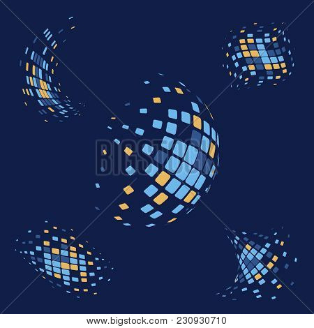 Abstract Futuristic Digital Style 3d Shapes In Random Harmonic Blue And Orange Colors. Vector Illust
