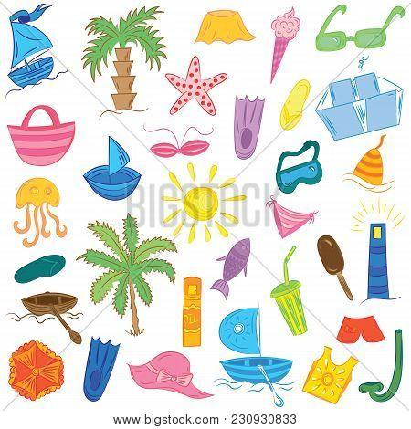 Colorful Hand Drawings Of Summer Vacancies Symbols. Doodle Boats, Ice Cream, Palms, Hat, Umbrella, J