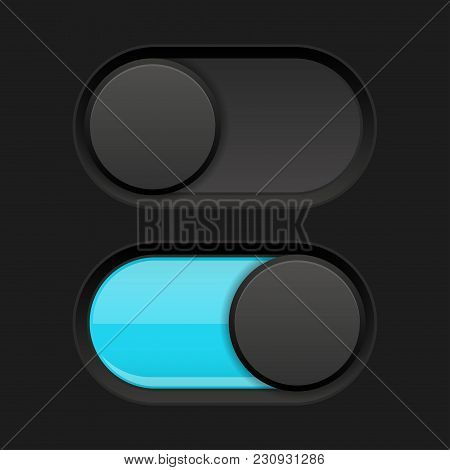On And Off Slider Buttons. Blue And Black Oval Buttons. Vector 3d Illustration