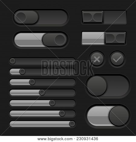 Set Of Black Interface Switch Buttons, Sliders. Vector 3d Illustration