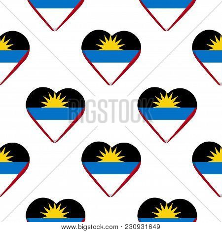 Seamless Pattern From The Hearts With Flag Of Antigua And Barbuda. Vector Illustration