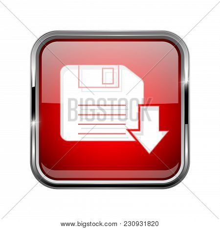 Save Or Download Icon. Square Red 3d Icon With Chrome Frame. Vector Illustration