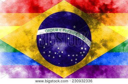 Brazil Gay Grunge Flag, Brazil Flag, Brazil Gay Flag