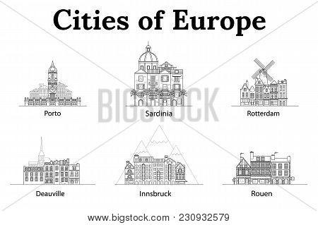 The City Of Europe, Innsbruck, Sardinia, Rotterdam, Deauville, Rouen, Porto. European Houses. Differ