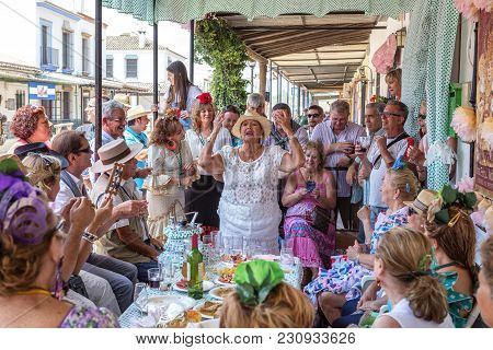 El Rocio, Spain-may 22, 2015 Irmandade Dances And Sings After Peligrination In El Rocio. Spain