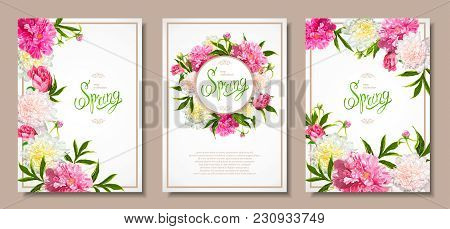 Set Of Three Floral Backgrounds With Blooming Pink And Light Yellow Peonies, Buds, Green Leaves. Ins