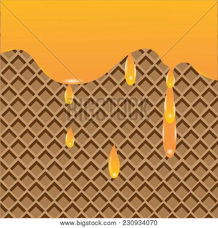 Waffle Background Maple Syrup Dripping Vector Art Creative Modern Illustration