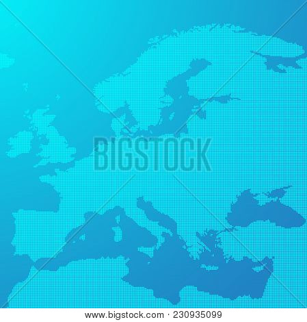 Blue Map Of Europe In The Dots. Europe Map Illustration. Europe Map On Blue Background. Europe Map W