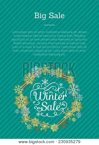 Big Winter Sale Titles Written In Frame Made Of Snowflakes And Lines, With Text Sample For Writing O