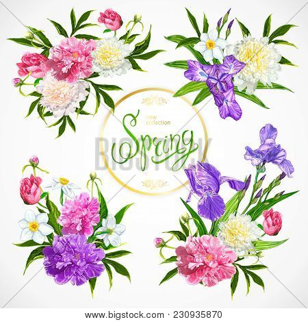 Set Of Four Spring Floral Arrangements With Peonies, Irises And Daffodils Flowers On A White Backgro