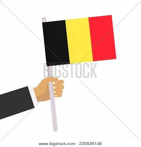 Man Holds Belgium Flag. Hand Holding Flag. Vector Stock.