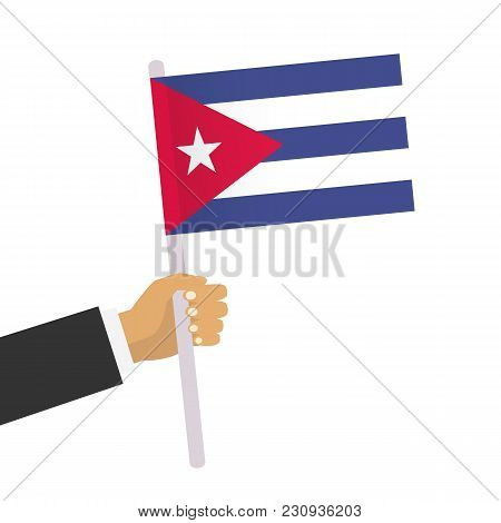Man Holds Cuban Flag. Hand Holding Flag. Vector Stock.