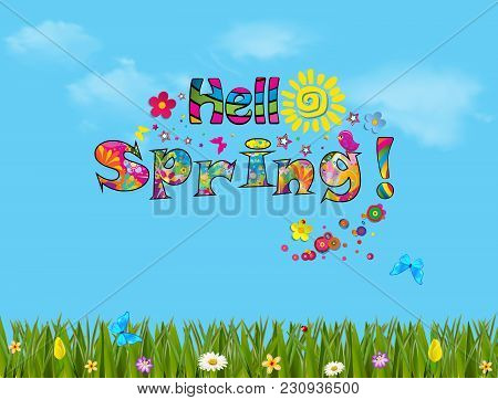 Hello Spring Vector Cartoon Colorful  Illustration With Beautiful Meadow Field With Colorful Flowers