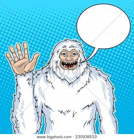 Snowman Mythical Creature Pop Art Retro Vector Illustration. Text Bubble. Color Background. Comic Bo