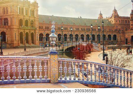 Very Beautiful Plaza De España, Seville, Spain, February 2018.
