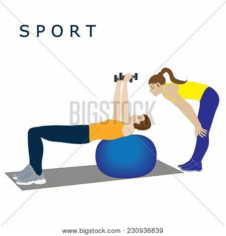 Trainer Woman Conducts Classes Exercise With Dumbbells On A Ball Isolated Vector White Background Sp