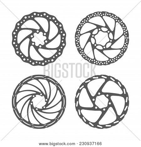 Bicycle Disc Brake Set. Bike Disc Brake Rotors Of Different Shapes. Realistic Vector Illustration. B