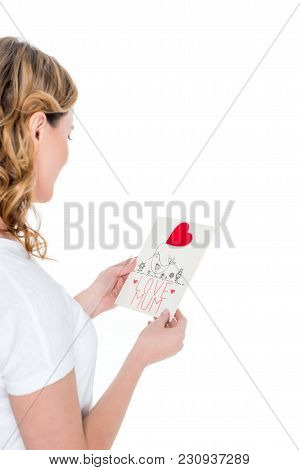 Partial View Of Woman With Postcard In Hands Isolated On White, Mothers Day Concept