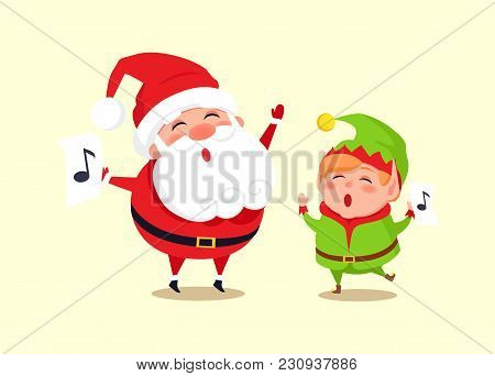 Santa And Elf Cartoon Characters Singing Carol Songs, Dancing At Loud Music Vector Illustration Cart