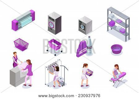 Laundry Or Dry Cleaners Service Icons Set, Isometric 3d Illustration With Washingmachine And Ironing