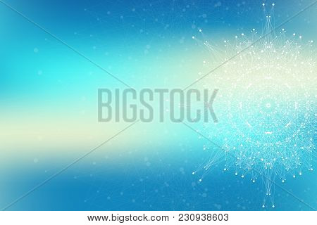 Fractal Element With Connected Lines And Dots. Big Data Complex. Geometric Graphic Background Molecu
