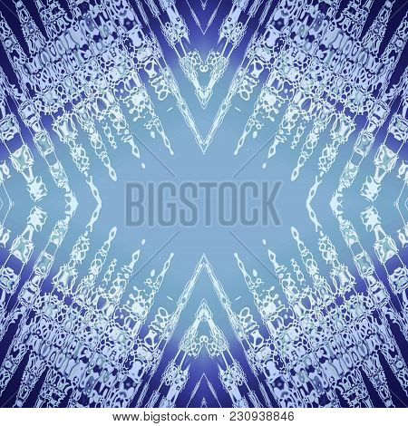 Kaleidoscope Pattern With White, Gray Stains, Streaks, Strokes On Blue Rhombus. Abstract Background.