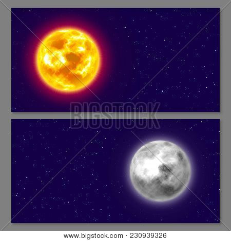Two Cards, Moon, Sun, Night Background, Copy Space, Realistic. Flyers And Posters On Cosmos Theme, D