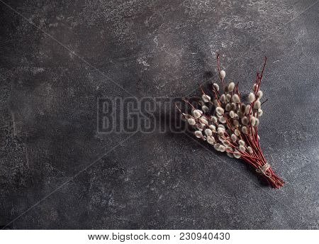 A Small Bunch Of Willows Tied With A Thread On A Dark Background. Palm Sunday. Christian Tradition.