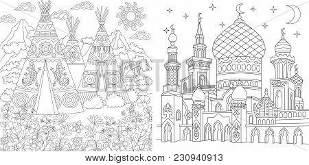 Coloring Page. Adult Coloring Book. Native North American Wigwam Village. Boho Tribal Culture. Turki