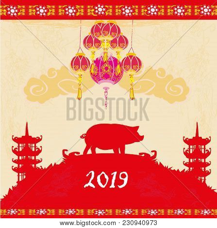 Chinese Zodiac The Year Of Pig - Frame , Vector Illustration