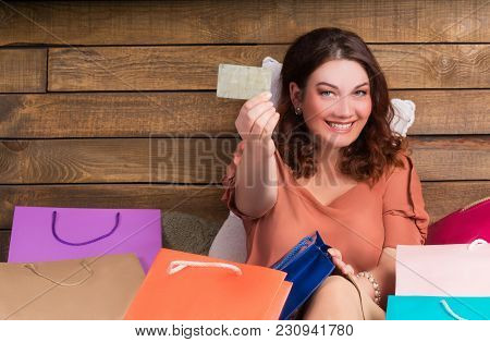 Woman After Shop On Bed With Paper Bags, Credit Card