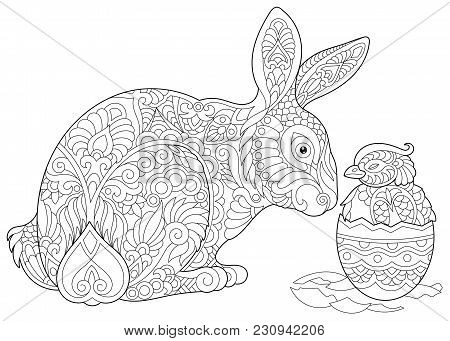 Easter Bunny And Newborn Baby Chicken In Easter Egg. Coloring Page For Adult Colouring Book. Antistr