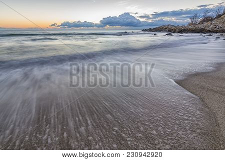 Sea Wave Close Up, Low Angle View, A Beautiful View With First Rays Over The Sea