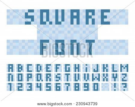 Pixel Square Font. Vector Alphabet Letters And Numbers. Typeface Design.