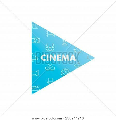 Line Icons In Play  Shape. Cinema Pack. Vector Illustration For Fun And Entertainment