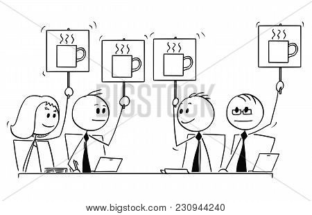 Cartoon Stick Man Drawing Conceptual Illustration Of Business Team Or People Meeting. All Voting And