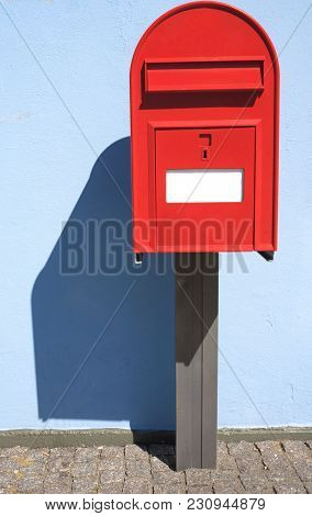 Red Post Box Or Mailbox Postbox Letterbox On The Street