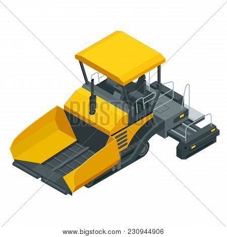 Isometric Asphalt Paver, Asphalt Spreading Machine Under The White Background. Vector Illustration.