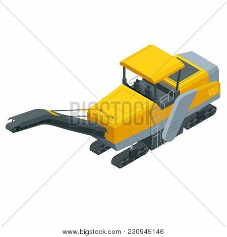 Isometric Pavement Milling, Cold Planing, Asphalt Milling, Or Profiling. Process Of Removing Part Of